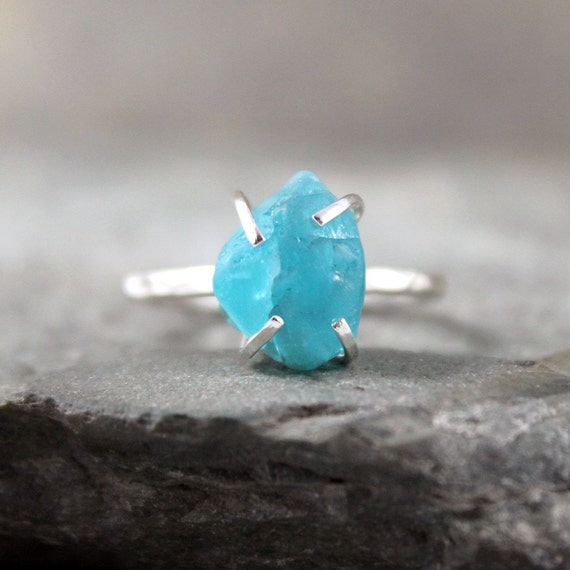 Apatite Ring - Raw Uncut Rough Apatite - Sterling Silver Ring - Handmade and Designed by A Second Time