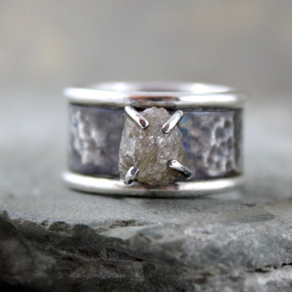 Raw Diamond Ring - 3 carat - Sterling Silver - Rustic Wide Band - Engagement Ring - Anniversary Ring