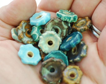 Craft Supplies - Coin Beads - Handmade Ceramic Disc Beads - Made To Order - You Pick The Color Palette - Marsha Neal Studio - Porcelain Clay