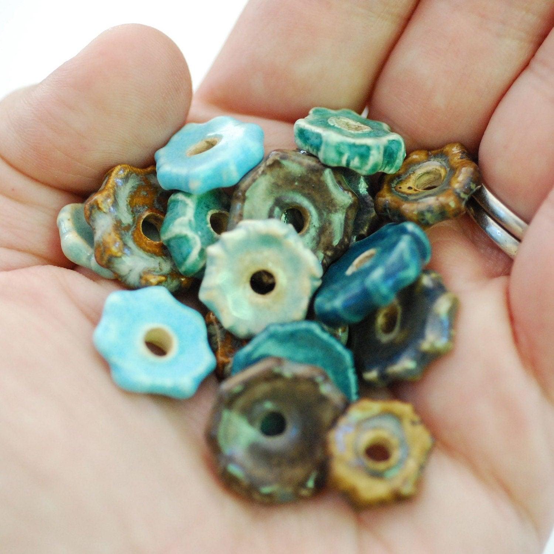 Ceramic Bead Beads: Craft Supplies Coin Beads Handmade Ceramic Disc Beads