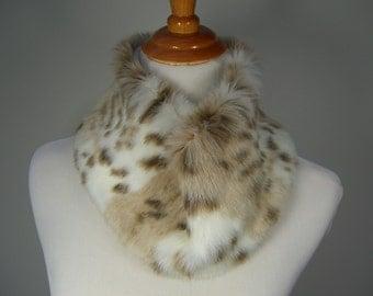 Faux Fur NECKWARMER Scarf, Snow Leopard Faux Fur, Neckpiece, Fur Collar, Women's Circular Cowl