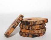 5 Natural Hand Crafted Wood Tree Branch Buttons - Spalted RED Cedar