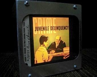 CRIME OF JUVENILES - Vintage magic lantern glass slide light box
