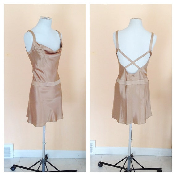 Vintage Champagne Gold Cocktail Dress. Classic. Criss Cross Back. Sexy. Short Dress. Size 4. Date Night. 1990s. Brown. Tan. Evening.