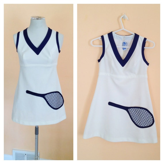 Vintage Tennis Dress. Halloween. Costume. White. Navy Blue. Tennis Racquet. Top Seed. Sports. Athletic. Short Dress. Size Small. 1970s.