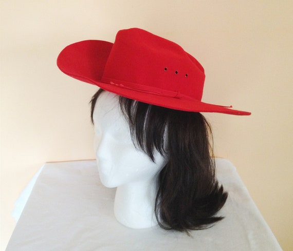 RESERVED for AB- Vintage Red Cowboy Hat. Country. Western. Halloween. Costume. Whimsical. Red Hot. Size Small. 1980s. LHC Brands. Felt Hat.