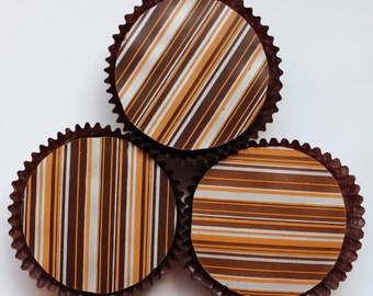 Designer Gold and Silver STRIPE Chocolate Covered Oreos - Birthday Gift Favor Fall Thanksgiving Christmas Autumn Party
