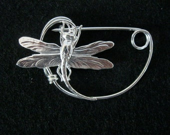 SILVER Dragonfly  brooch pin Shawlpin Shawl pin