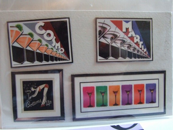 Vintage Cosmo Martini Cocktails Bar Ad Posters Set of Handmade Upcycled Mini Art Magnets for Office Home School Locker Gifts Free Shipping
