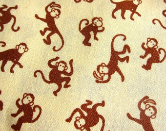 FREE SHIPPING Animal Cotton Fabric - Brown Monkeys Fabric in Yellow (F062) Fat Quarter