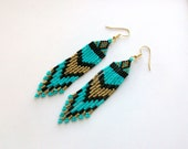 Turquoise, Khaki Gold and Black Beaded Earrings