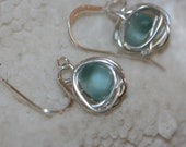RARE aqua beach sea glass 925 sterling silver wire wrapped dangling earrings