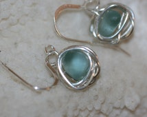 RARE aqua beach sea glass 925 sterling silver wire wrapped dangling earrings