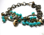SALE Turquoise and Brass Link Bracelet, Lampwork Teardrop Beads, Aqua, Turquoise, Tan and Antiqued Brass, Rustic Jewelry, Charm Bracelet