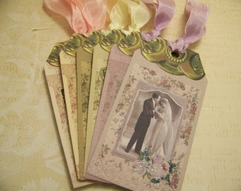 Bridal Tags - Wedding Tags - Wedding Wish Tags - Vintage Style - Set of 6