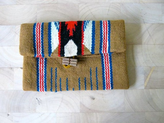 Vintage 70s Native American Wool Woven Clutch