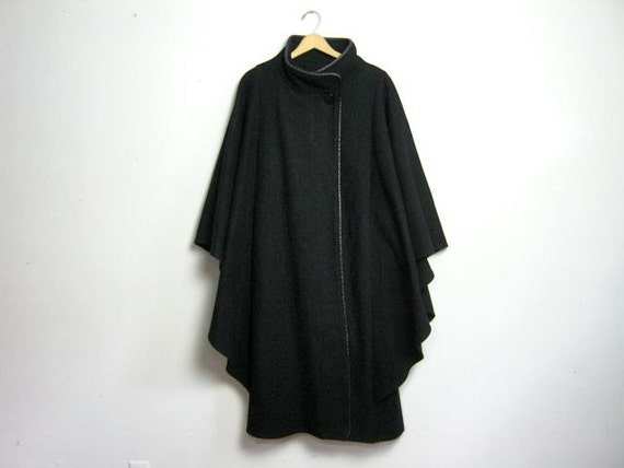 vintage black wool winged cape cloak