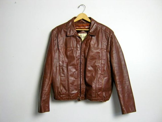 vintage men's brown leather Berman's motorcycle biker jacket 44