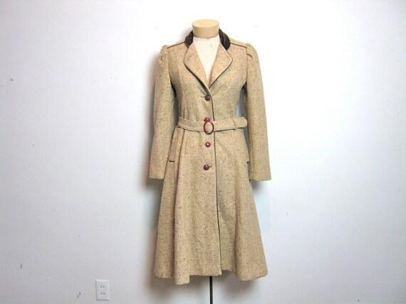 vintage 1970s brown speckled wool tweed princess trench coat