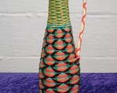 Vintage Italian Wine Bottle Wrapped in Colorful Plastic Lacing