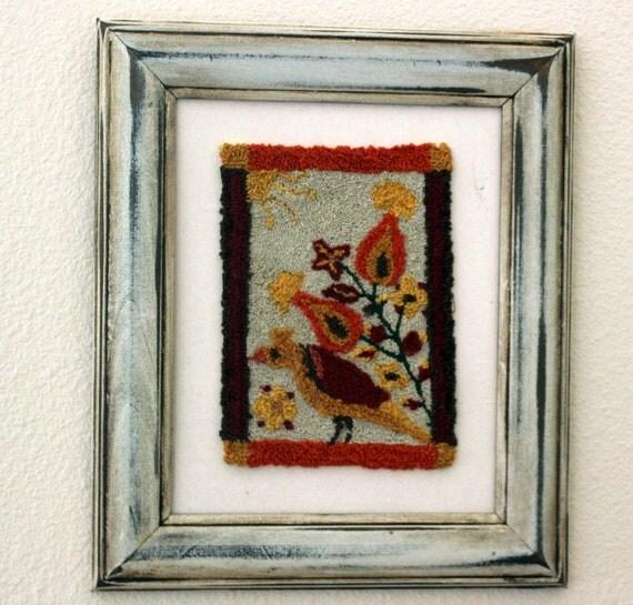 FRACTUR BIRD  Punchneedle wall art