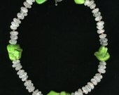 Green Turquoise Cracked Crystal Raspberry Seed Pearl Necklace