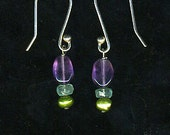 Sterling Silver French hooks with Amethyst, Apatite, and Green seed pearl