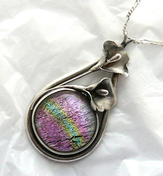 Precious Metal Clay Dichroic Glass Pendant and Necklace