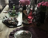 crocheted lace plum purple and green vintage doily / rustic- woodland - christmas table decoration