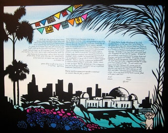 Los Angeles Fiesta Ketubah - Papercut Artwork - Calligraphy