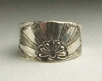 Horizon Sterling Silver Hand Stamped Band Size 7.75  Free US Shipping