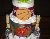 Sports diaper cake baby shower centerpiece gift baseball, football, soccer other sizes   too