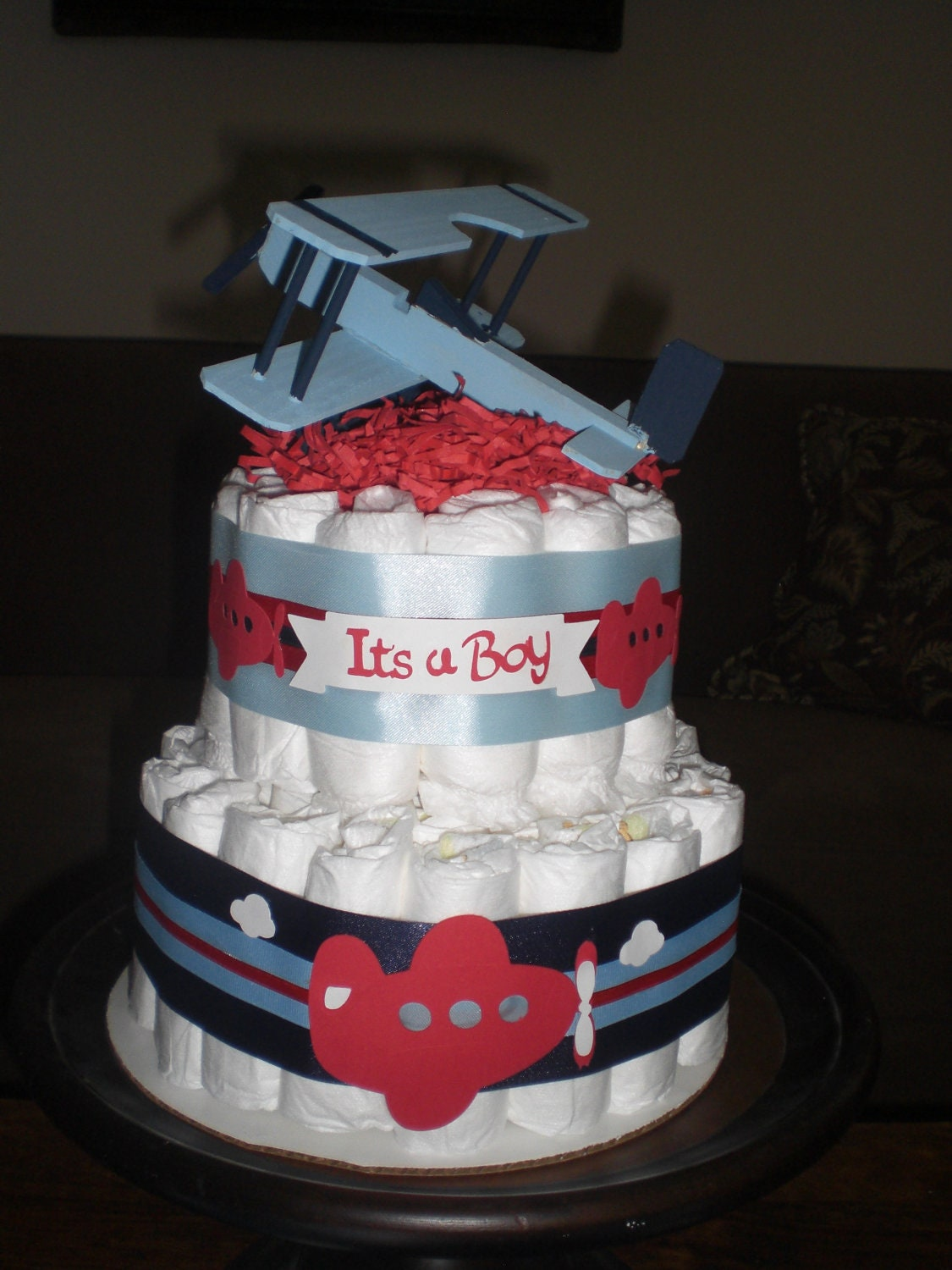 Airplane Baby Shower Diaper Cakes