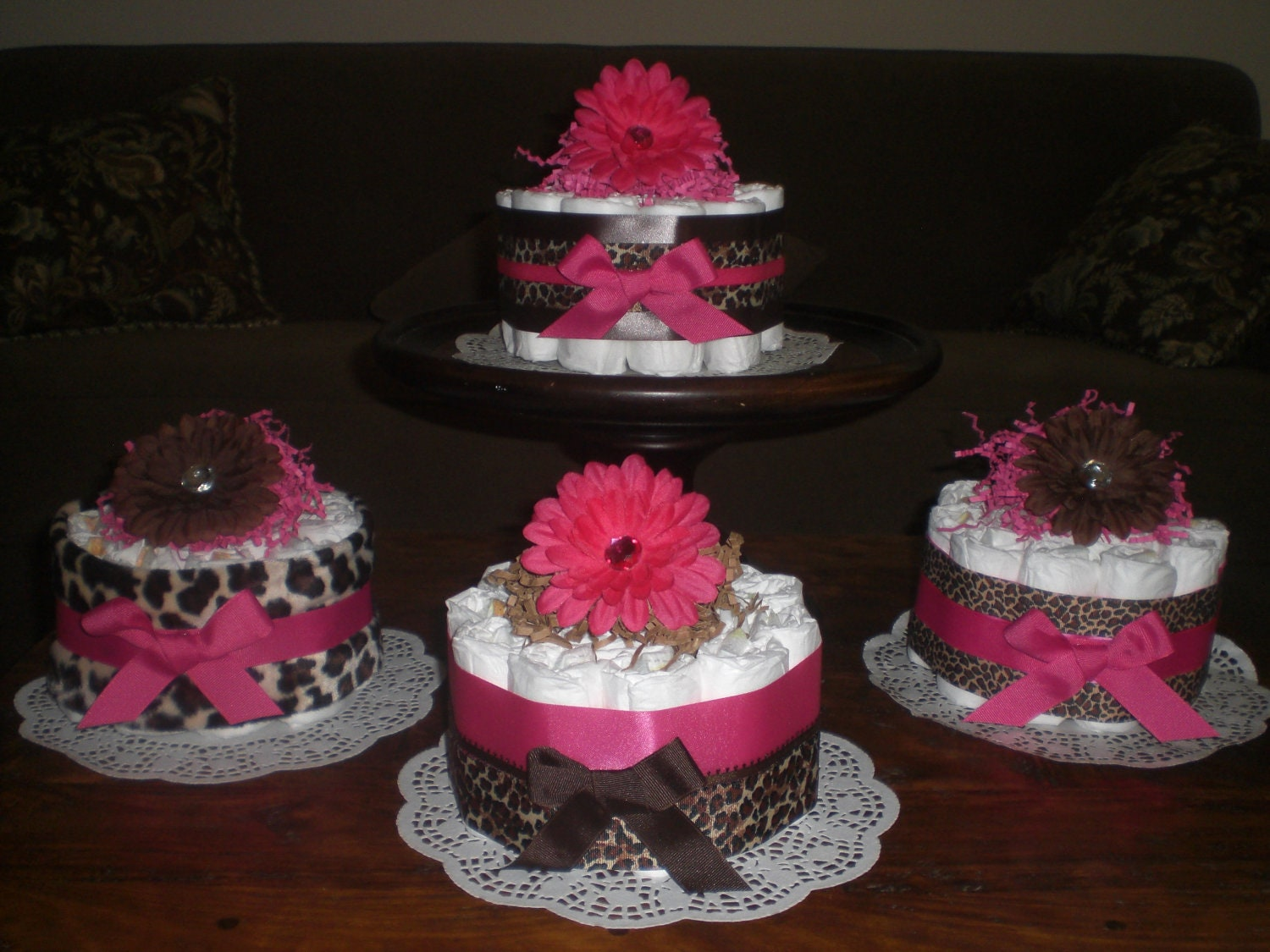 Diaper Cake Centerpiece For Baby Shower : Leopard or Cheetah Diaper Cake Baby Shower Centerpieces hot