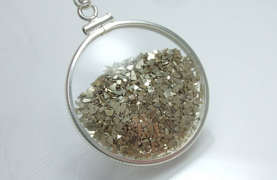 Shake Necklace Collection - Locket Glass Double Sided Sterling Silver Two Toned Slivers Filled Movement