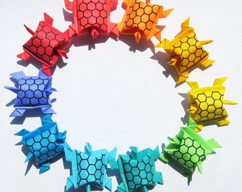 20 Origami Army of Paper Turtles - Rainbow Multicolored