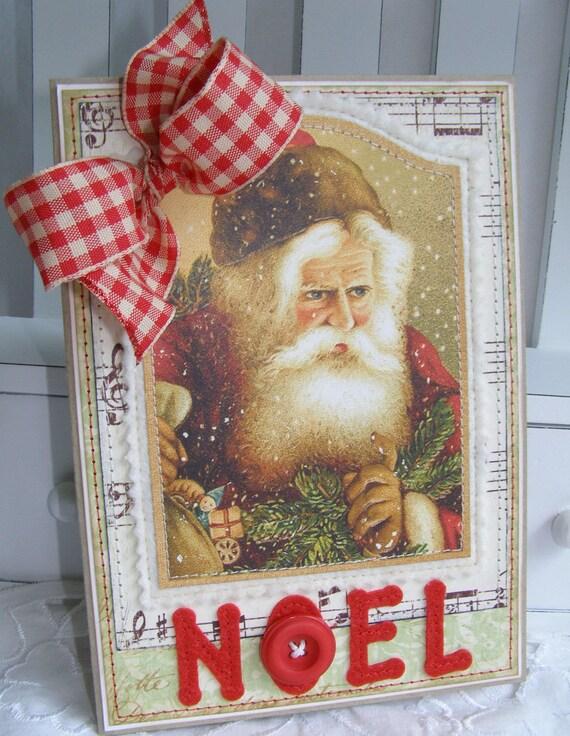 Old World Santa Noel Handmade Christmas Card