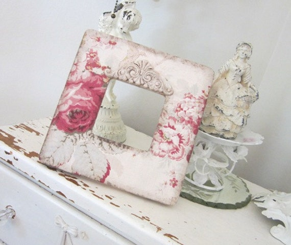 Vintage Photo Frame - Shabby French Cabbage Roses - Furniture Applique
