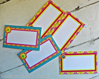 Luau/Flower Place Cards...Set of 10 Place Cards