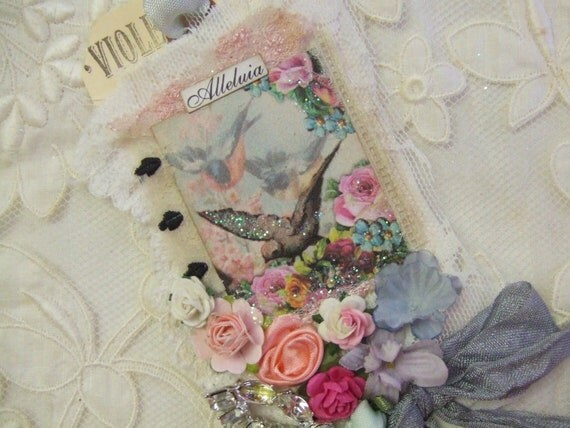 Lace Tag  Shabby Rose Bridal Gift Tag with Vintage Bridal Lace and Rhinestones