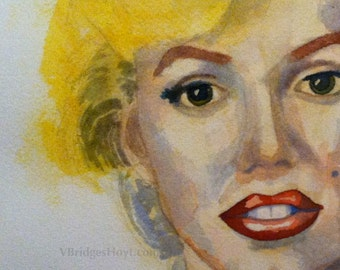 Original watercolor painting, modern Marilyn, collectible, celebrity, framed portrait, Vernita Hoyt art