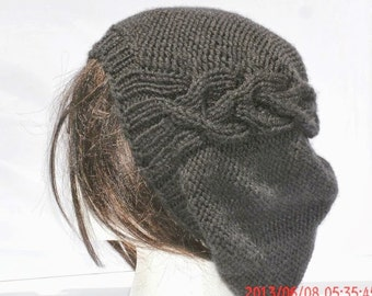Hand Knit Womens Hat - The Cableret Slouchy Hat in Black