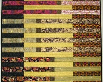 Modern Art Quilt Wall Hanging Lines Bold Colors