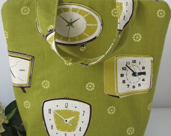 retro clock large teachers lunchbag, lunch tote insulated olive green