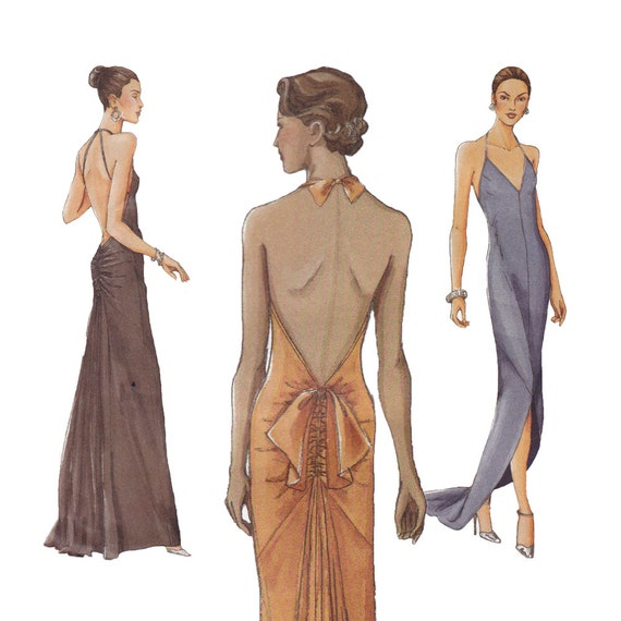 Backless Evening Dress Sewing Pattern Vogue 7365 by ZipZapKap
