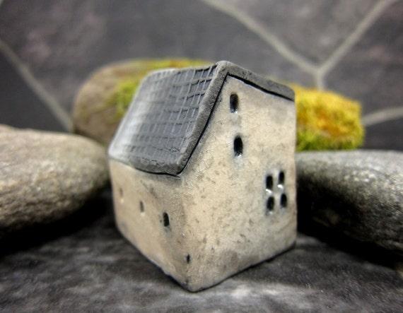WHITE Cottage...Raku Fired Miniature House