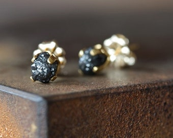 Rough Diamond Stud Earrings- large, dark grey, black, 14kt gold, prong setting