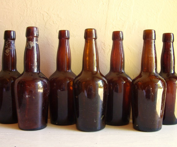 RESERVED Vintage Amber Brown Glass Beer Bottles 7 Seven and 7 Clear Pop Bottles