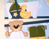 Bath Time Bear Premade Scrapbook Paper Piecing Mat Set and Page Topper
