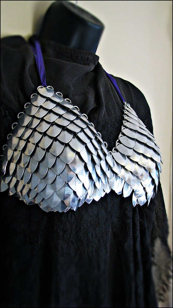 Stainless Steel  Scalemail Dragonscale Halter top Bra Silver Chainmail LARP Cosplay